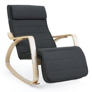 SONGMICS Schaukelstuhl Relaxstuhl 5-fach verstellbares Fußteil Belastbarkeit